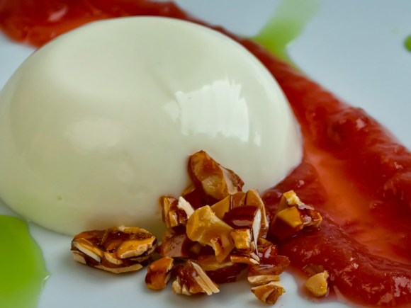Fresh Chevre Panna Cotta with Rhubarb Sauce Basil Syrup and Almond Praline Closeup Mastering Panna Cotta   with Six Variations