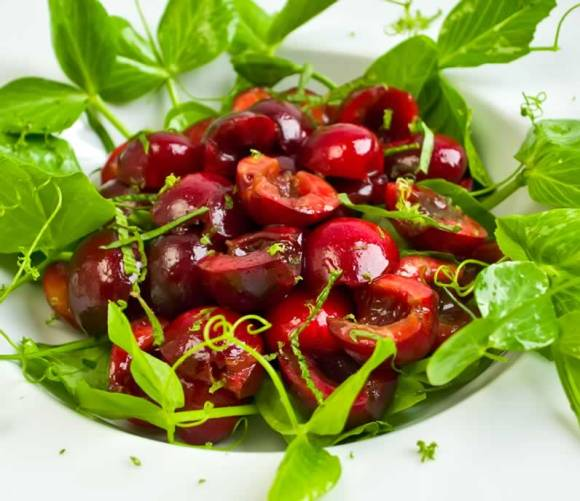 Bing Cherry Pea Vine Salad with Lime Vinaigrette Closeup Sweet Cherry & Pea Vine Salad with Basil & Mint