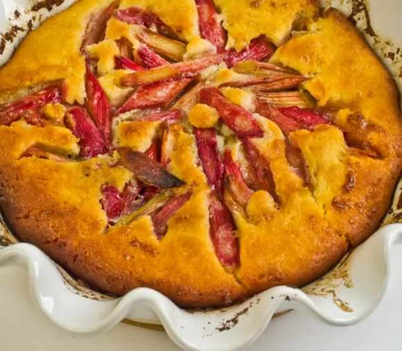 Lime Vanilla Scented Rhubarb Clafouti in Baking Dish Lime & Vanilla Scented Rhubarb Clafouti
