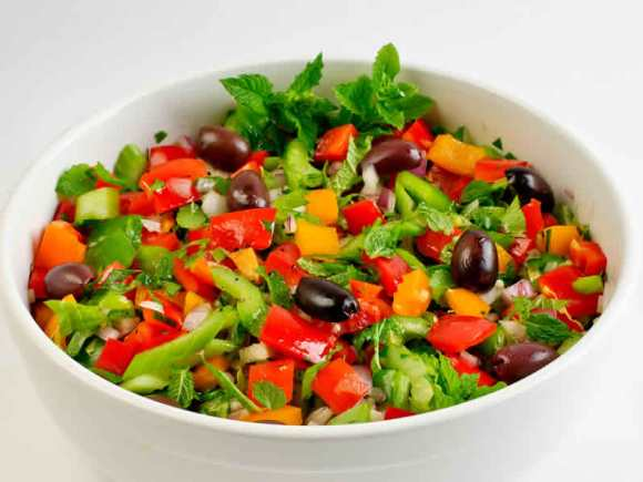 Bowl of Salad1 Red & Orange Bell Pepper Salad with Mint, Parsley & Lemon Garlic Vinaigrette