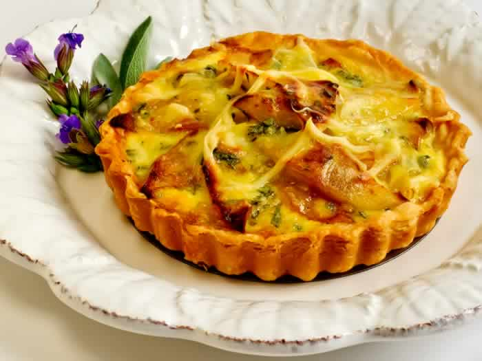 Caramelized Apple, Onion, Cheddar & Blue Cheese Tart