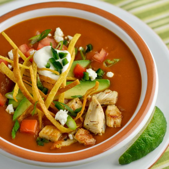 Serving 21 Mexican Tortilla Soup with Frizzled Tortillas