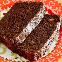 Close Up of Spicy Chocolate, Banana &amp; Fresh Ginger Tea Loaf