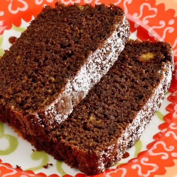 Close Up of Spicy Chocolate Banana Fresh Ginger Tea Loaf Spicy Chocolate, Banana & Fresh Ginger Tea Loaf