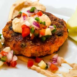 Smoked Sockeye Salmon Cakes with Chipotle Aioli & Green Apple Pico de Gallo