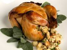 Spiced Apple Cider Brined Roast Cornish Game Hen with Apple Cider Mustard Glaze