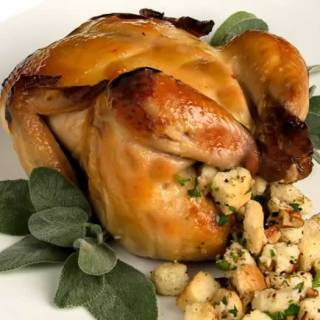 Spiced Apple Cider Brined Roast Cornish Game Hens with Apple Cider Mustard Glaze