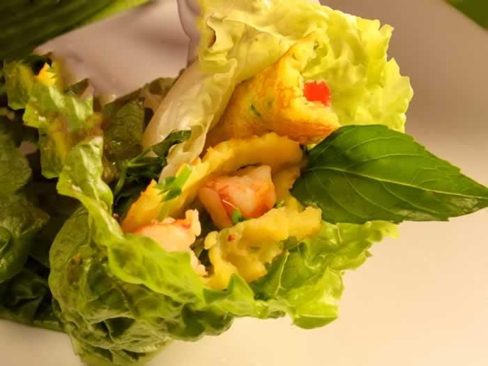 Vietnamese Crispy Crepe in Lettuce Leaf Wrap
