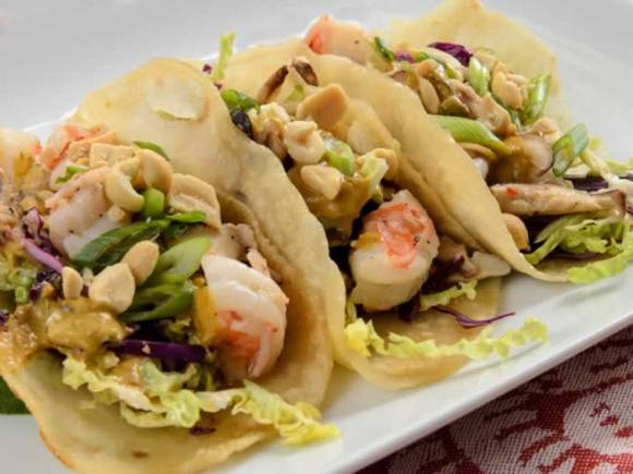 Asian Tacos three to go Asian Tacos with Prawn & Shiitake Filling & Cabbage Slaw