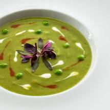Chilled green Pea Soup (Green Pea Gazpacho)