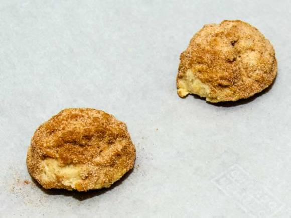 Spacing Dough Balls  on Parchment for Super Chewy Snickerdoodles