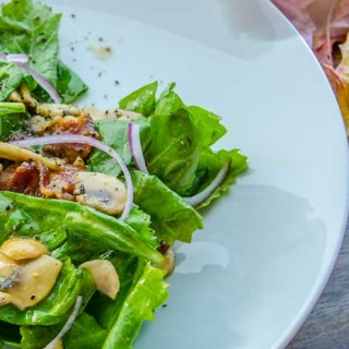 Warm Spinach Mushroom Salad with Applewood-Smoked Bacon Honey Dressing