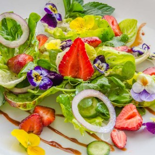 Strawberry, Baby Lettuce & Pea Vine Salad with Strawberry Balsamic Syrup