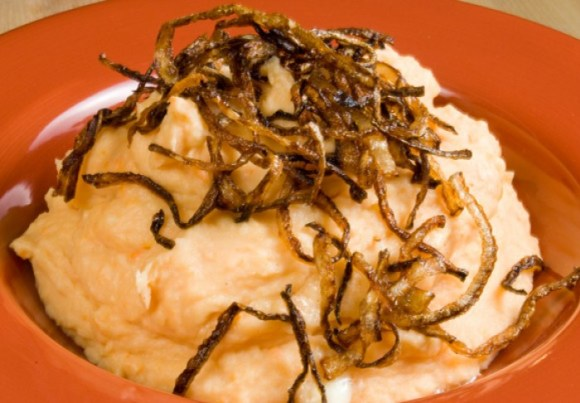 Perfect Mashed Potatoes: Potato, Yam, Garlic & Gorgonzola Mashers with Frizzled Onions
