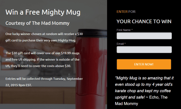 Win a $30 gift card that you can use at MightyMug.com to get your very own Mighty Mug!