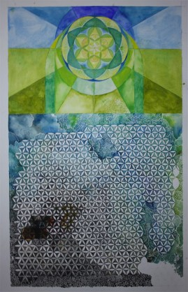 Underpainting for a work in progress, sacred geometry design in watercolor