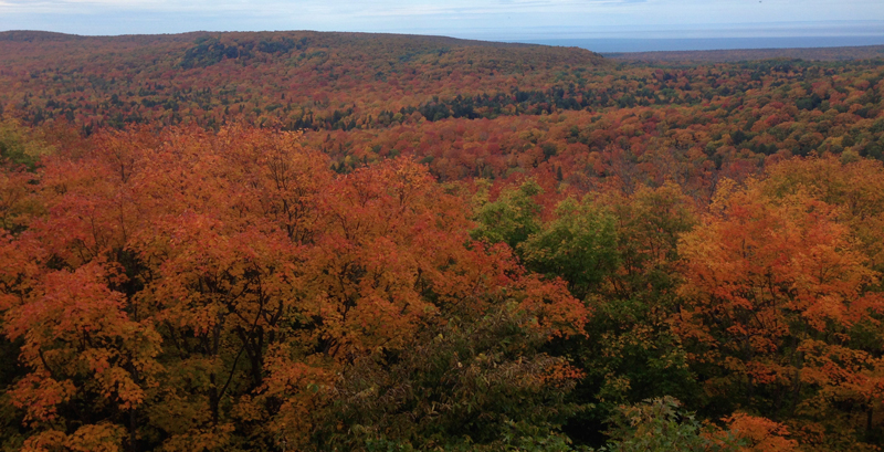 Summit Peak in full Autumn color, the Porcupine Mountains
