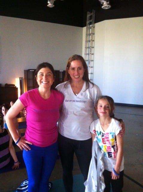 My Manifestation Workshop. Me, Carol from San Antonio and her 8 year old daughter Jen. Black Swan Yoga, Austin Texas.