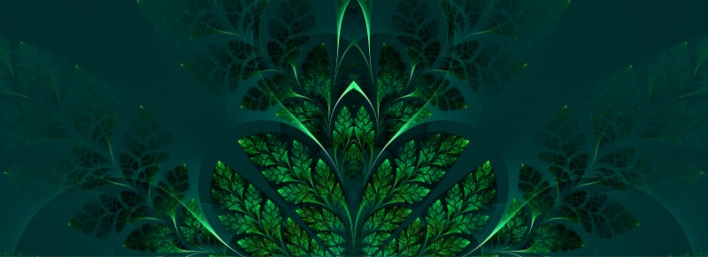 Fabulous fractal pattern in green. Collection - tree foliage. Computer generated graphics.