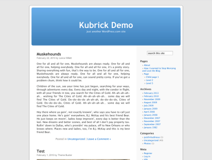Kubrick WordPress Theme
