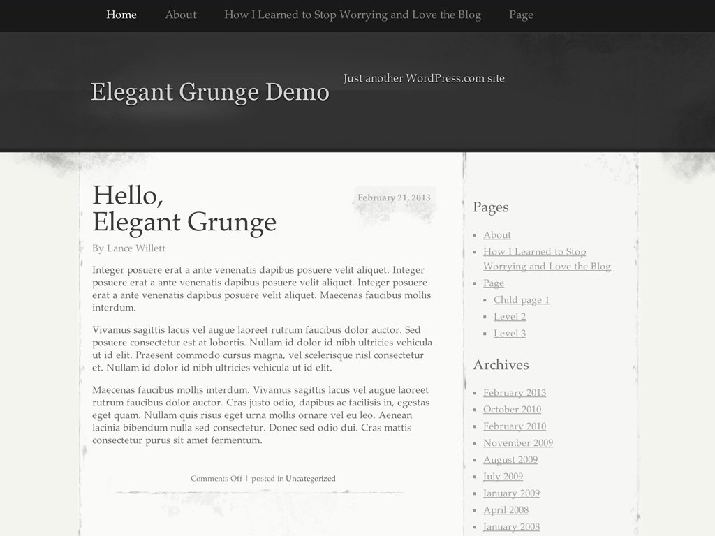 Elegant Grunge WordPress Theme