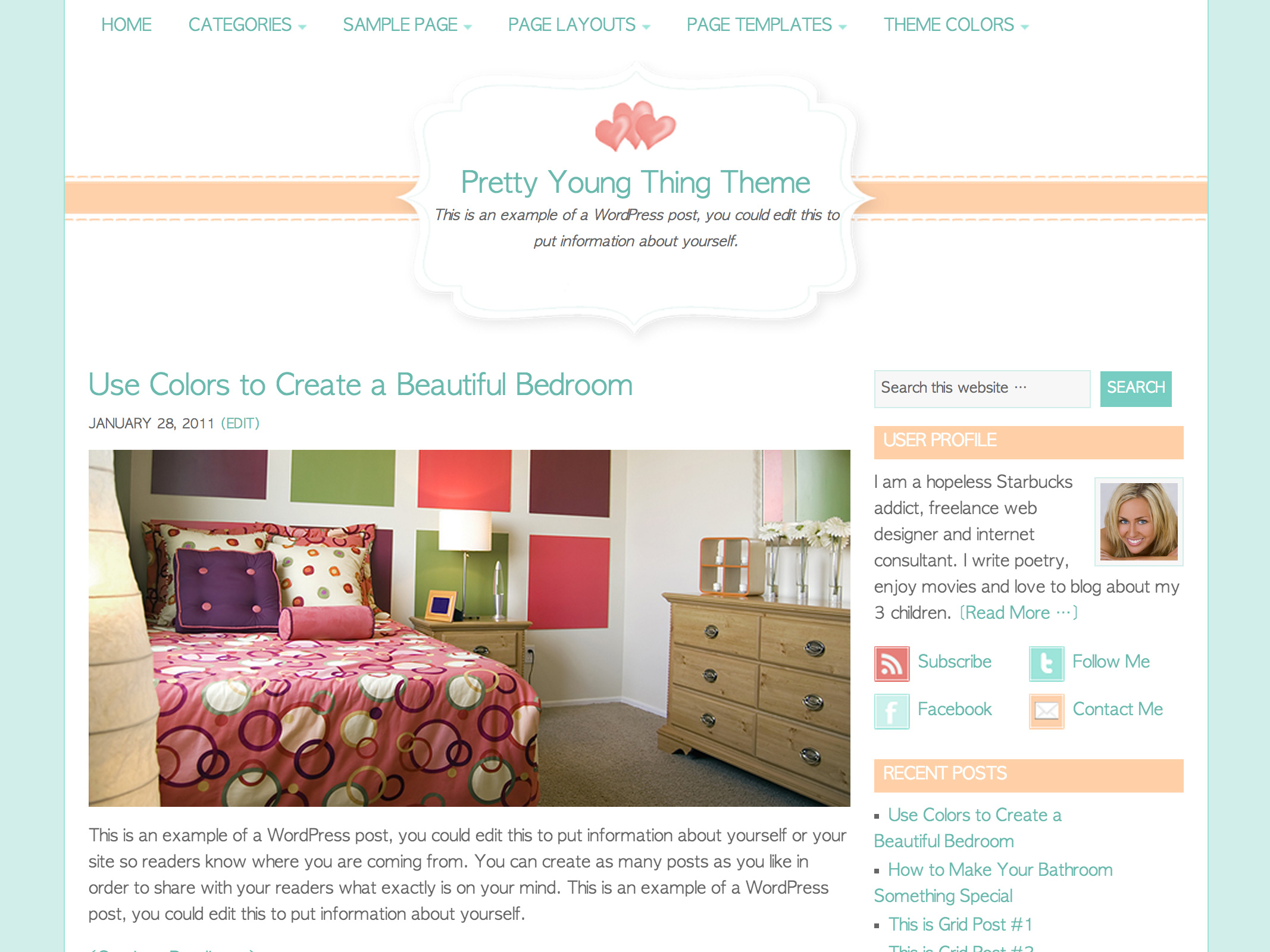 Pretty Young Thing WordPress Theme