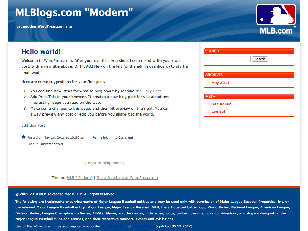 "MLB ""Modern"" WordPress Theme"