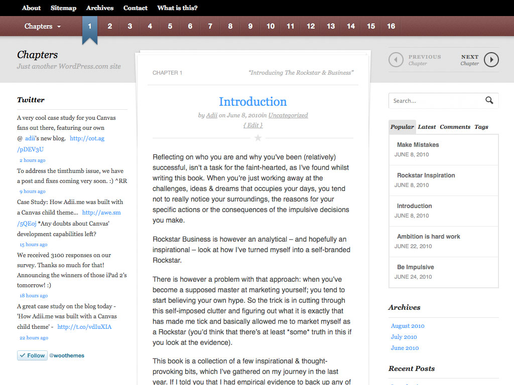 Chapters WordPress Theme