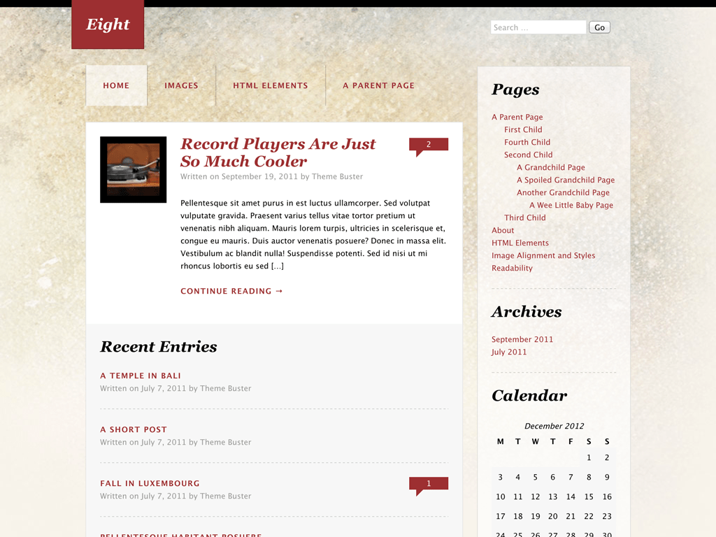 Eight WordPress Theme