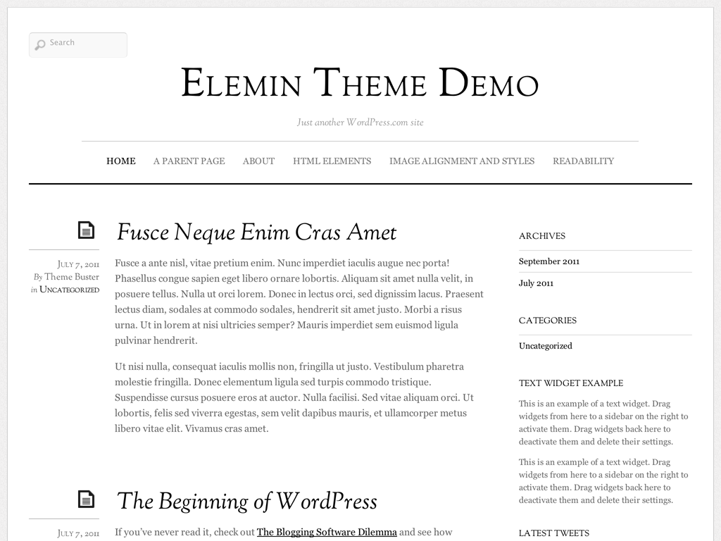 Elemin WordPress Theme