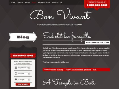 Bon Vivant WordPress Theme