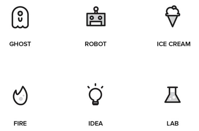 48 Outline Design Random Icons Set