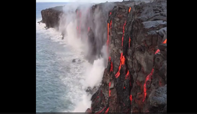Aerial View Of Ocean Entry Lava Flow