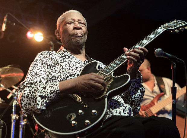 Blues music legend BB King performs on Frampton'™s Guitar Circus 2013 Tour at Pier Six Pavilion on Thursday, Aug. 8, 2013, in Baltimore. (Photo by Owen Sweeney/Invision/AP)