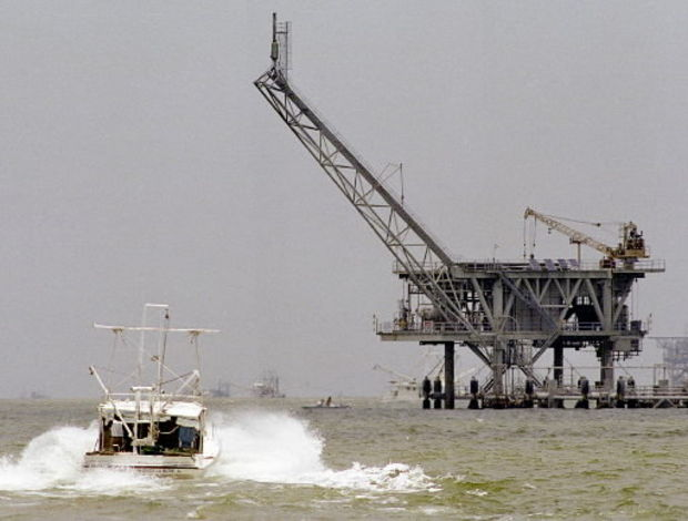 A natural gas rig sits in the Mississippi Sound off the coast of Alabama. (file photo)