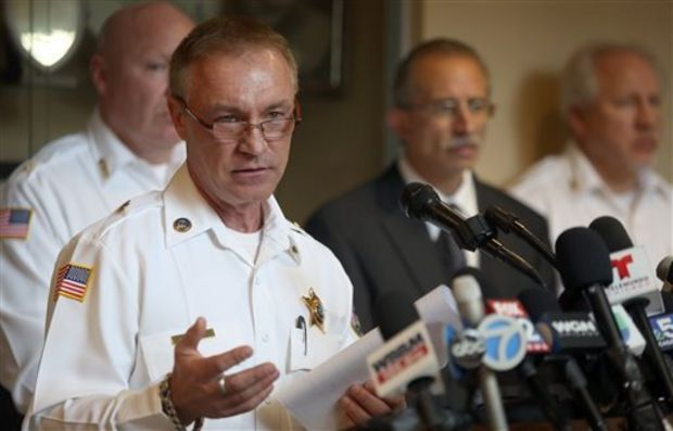 Hammond Police Chief John Doughty fields questions at a news conference in Hammond, Ind. regarding the bodies of seven women found over the weekend in nearby Gary, Monday, Oct. 20, 2014. Police investigating the slayings said it could be the work of a serial killer, and that the suspect, 43-year-old Darren Vann, of Gary, has told them his victims might go back 20 years. (AP Photo/The Times, John J. Watkins)