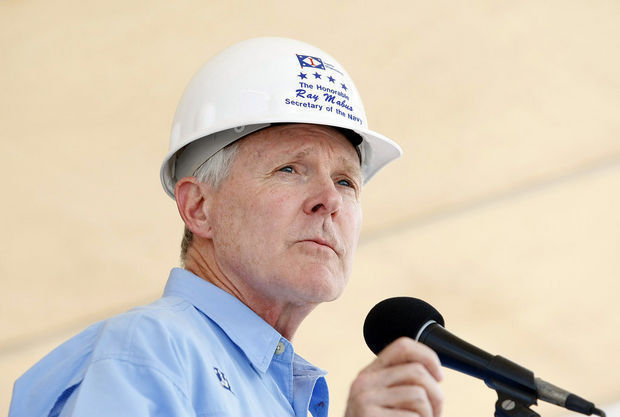 Ingalls Shipbuilding holds a ceremony to authenticate the keel of the amphibious assault ship Tripoli (LHA 7) Friday, June 20, 2014, in Pascagoula, Miss. Navy Secretary Ray Mabus makes remarks during the ceremony. (Mike Kittrell/mkittrell@al.com) (Mike Kittrell)
