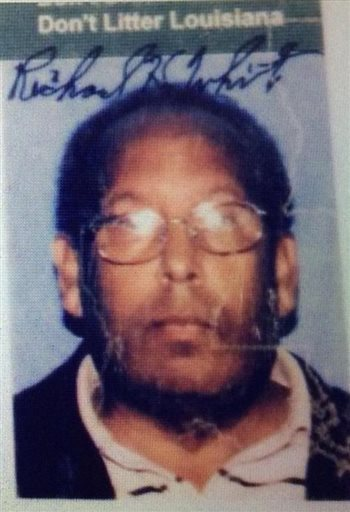 This drivers license image released by the Jefferson Parish Sheriff's Office shows Richard White. The Jefferson Parish Sheriff's office said in a statement that 63-year-old White was pronounced dead Saturday, March 21, 2015, at a local hospital. Sheriff Newell Normand said White -- who was shot three times by one of Normand's lieutenants Friday after approaching a security checkpoint at New Orleans' international airport, spraying insecticide and brandishing a machete -- was also carrying a bag loaded with six Molotov cocktails: six Mason jars with cloth wicks soaked in gasoline. (AP Photo/Jefferson Parish Sheriff's Office)