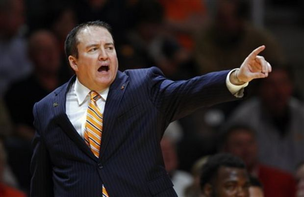 In this Monday, Nov. 3, 2014 file photo, Tennessee head coach Donnie Tyndall in the second half of an NCAA college basketball game against Pikeville in Knoxville, Tenn. The NCAA says Southern Mississippi's men's basketball program and former coach Donnie Tyndall have committed multiple violations, including arranging fraudulent academic credit, impermissible financial aid and obstructing the governing body's investigation, Friday, July 24, 2015. (AP Photo/Wade Payne, File)