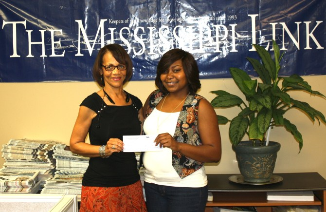 Jackie Hampton with NNPAF scholarship recipient Tougaloo College senior Diamond Williams