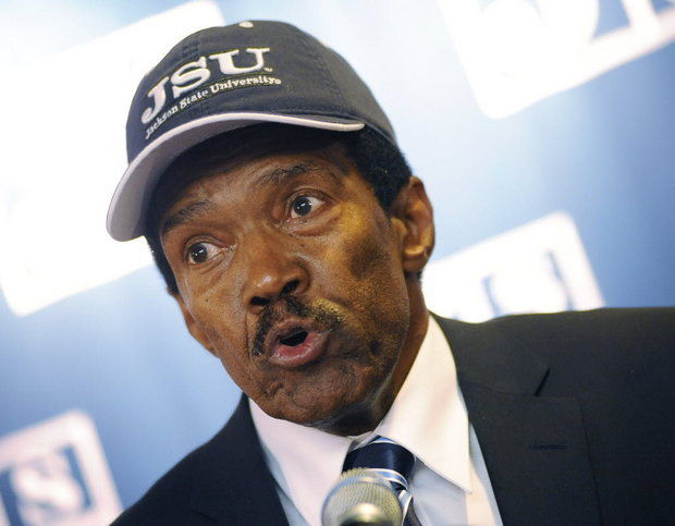 Former Jackson State University and NFL wide receiver Harold Jackson speaks at a news conference where he was introduced as the new head football coach at Jackson State University, Monday, Jan. 13, 2014, in Jackson, Miss. He was fired Tuesday, Oct. 6, 2015 after compiling 1-4 mark this season. (AP Photo/The Clarion-Ledger, Joe Ellis)