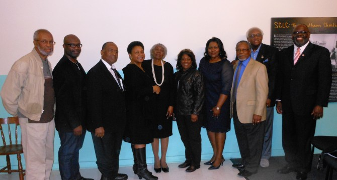 "Attendees at ""The 24-year-old Odyssey of Ayers Litigation: In Remembrance of Attorney Isaiah Madison"" Tuesday at COFO included (from left) Dr. Charles Holmes, Byron D'Andre Orey, Dr. Robert Smith, Dr. Mary D. Coleman, Helen Miller, Pastor Rose Jenkins, Carol Ann Madison, Johnny Anthony,  Dr. Leslie McLemore and U.S. District Court Judge Carlton Reeves."