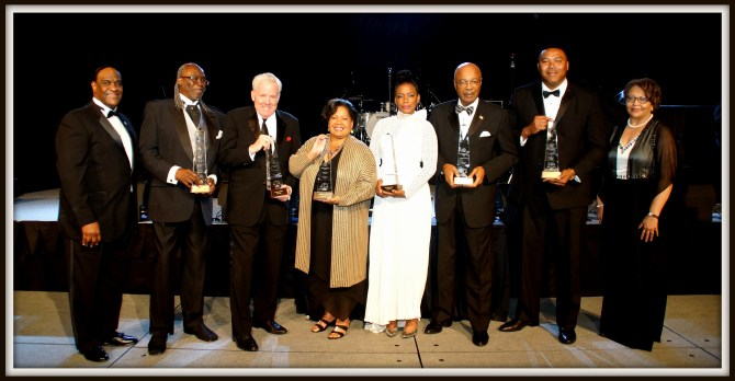 "Tougaloo Two Rivers Gala 2016 honorees and presenters were (from left) Leroy Walker, Tougaloo trustee; Benjamin E. Wright, James Barksdale, Reena Evers-Everette, who accepted the award on behalf of her mother Myrlie Evers Williams; Aunjanue Ellis, Roderick ""Rod"" Paige, Clarence Weatherspoon and Tougaloo President Beverly W. Hogan. PHOTOS BY JAY JOHNSON"