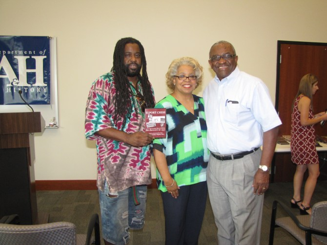 Jimmie Lewis Jr. (cousin), Gwendolyn Chess (Elport Chess' daughter-in-law) and Alexander Chess (Elport Chess' son) attend Wilma Clopton's documentary screening of the Lanier Bus Boycott of 1947.