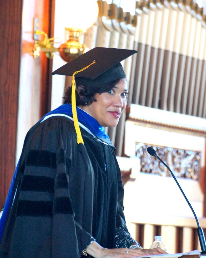 Karen Weaver, mayor of Flint, Mich., and Tougaloo alumna, was the guest speaker for the college's Founders' Convocation Oct. 16. PHOTO BY JAY JOHNSON