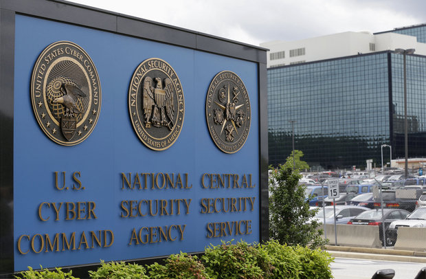 In this June 6, 2013 file photo, the sign outside the National Security Agency campus in Fort Meade, Md. Federal prosecutors revealed new details Thursday about their case against Harold Martin, a Maryland man arrested in August on charges of stealing classified information. (AP Photo/Patrick Semansky, File)