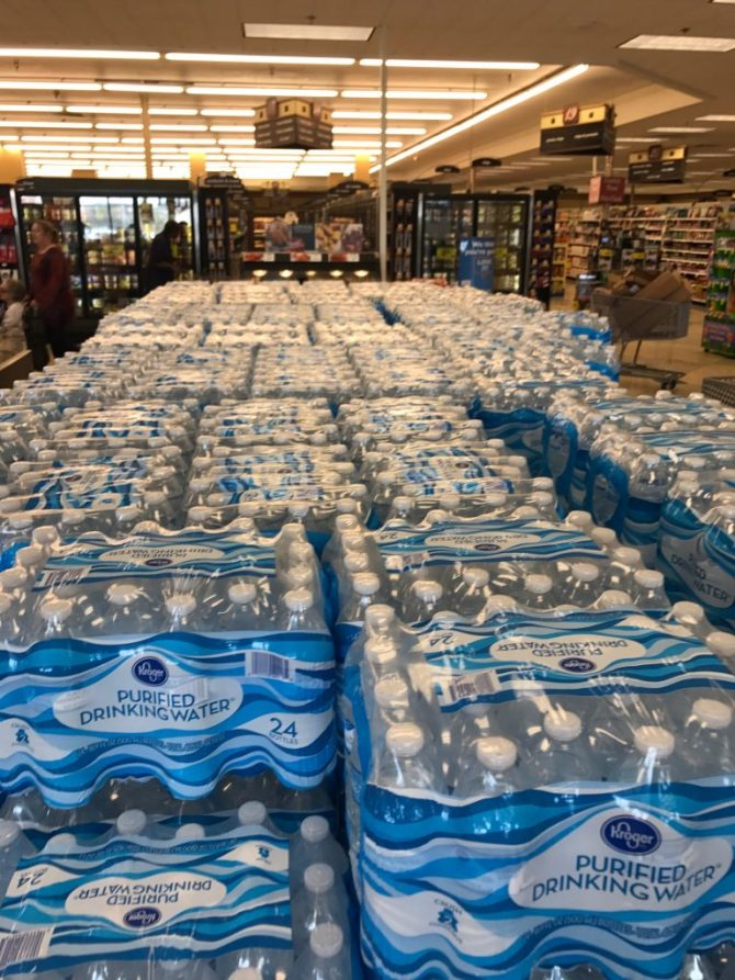 Pallets of water inside Kroger Grocery Store at its I-55 location in Jackson