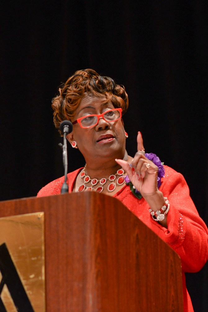 Paulette C. Walker, National President of Delta Sigma Theta Sorority, Inc., speaking at Founders Day.