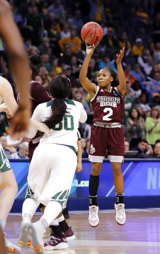 Mississippi State's Morgan William (2) shoots during the second half of a regional final of the NCAA women's college basketball tournament against Baylor, Sunday, March 26, 2017, in Oklahoma City. (AP Photo/Alonzo Adams)