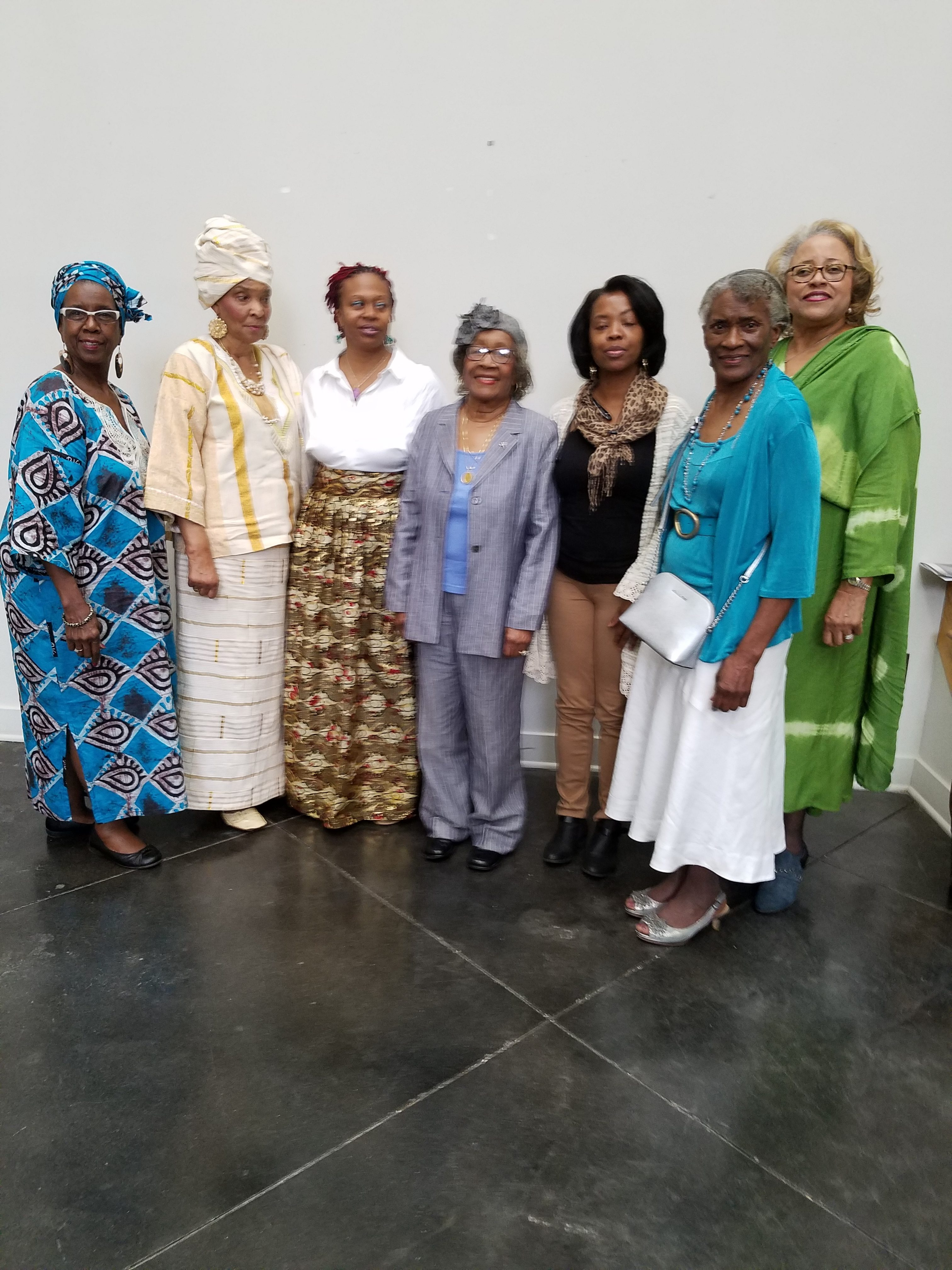 Left to Right – Ada Robinson, chair membership and publicity; Dorothy Stewart, presider/founder, Women for Progress; Sandkofa Ra, reproductive health educator, NYC; Ruth Weir, granddaughter of midwife Virginia Scott Ford; Connie Little, Hinds County election commissioner - District 5; Alferdteen Harrison, president, Scott Ford House, Inc., and Juanita Brown, publicity